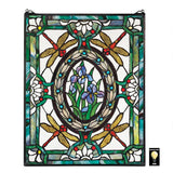 Dragonfly Floral Stained Glass Window Green Gold Red 25H