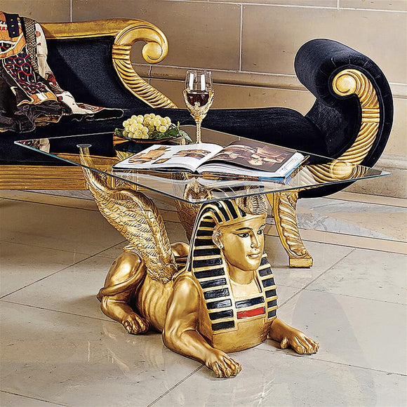 Sphinx Golden Egyptian Glass Topped Sculptural Coffee Table 18.5H  Os3-Nr
