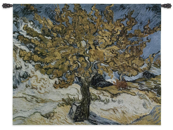 Mulberry Tree by Painting Yellow Blue by Van Gogh Woven Wall Tapestry 53 x 44