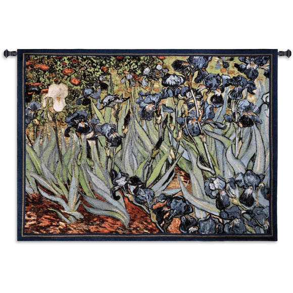 Irises by Van Gogh Blue Green Woven Museum Wall Hanging Tapestry 53 x 38