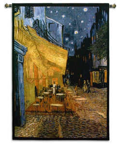 Van Gogh Cafe at Night Painting Place du Forum Museum Woven Wall Tapestry 38 x 53