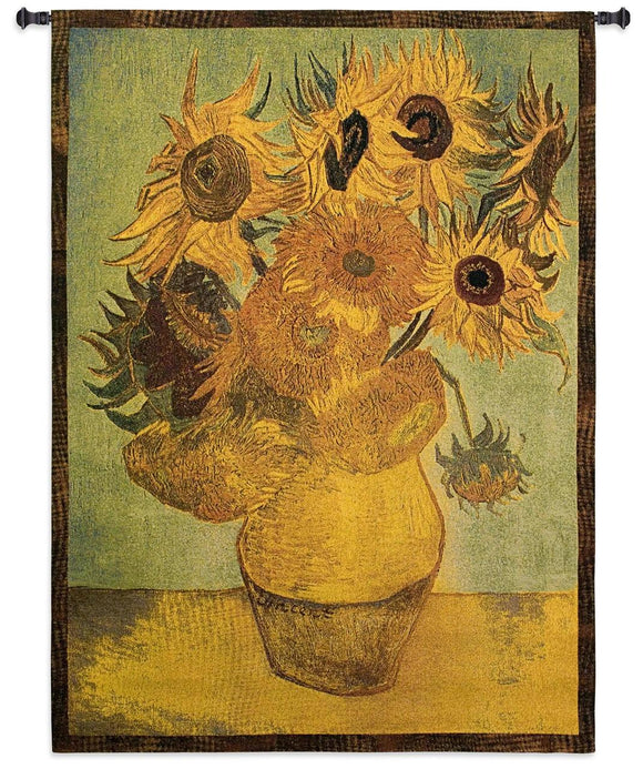 Van Gogh Sunflowers Yellow Orange Painting as Woven Wall Hanging Museum Tapestry 38x53