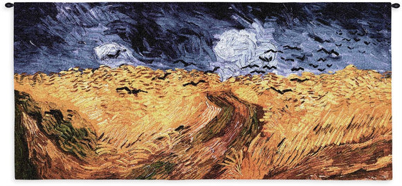 Van Gogh Wheat Fields with Crows Blackbirds Yellow Blue Woven Museum Wall Tapestry 54x26