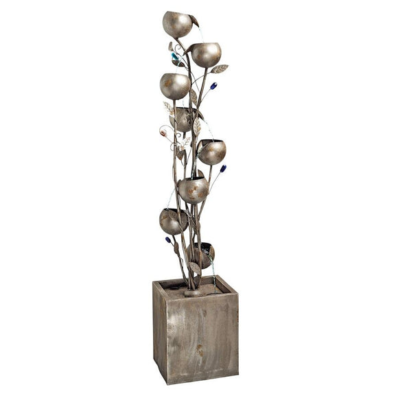 Abstract Floral Metal Tower Cascading Eight Levels Fountain 69H