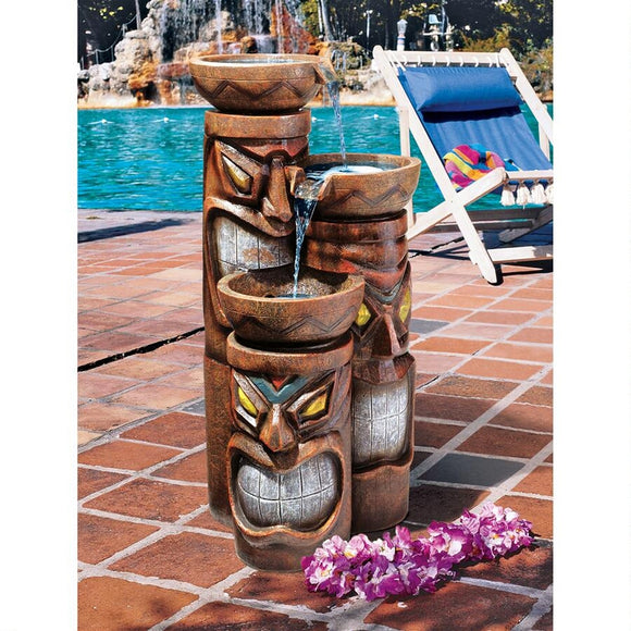 Aloha Tiki Trio of 3 Gods Cascading Hawaiian Tropical Water Bowl Fountain 29H