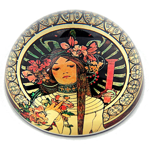 Mucha Woman with Floral Headpiece Belle Epoque La Trappistine Glass Paperweight by Mucha 3W