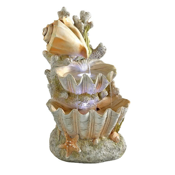 Ocean Bounty Cascading Conch and Clam Shell Garden Fountain 20H