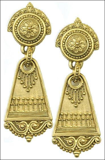 Roman Dangle Drop Fancy Ornate Earrings 2L