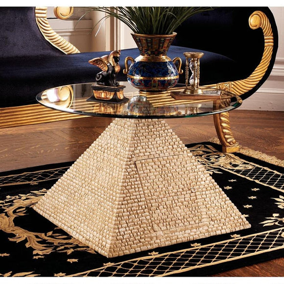 Egyptian Pyramid of Giza Sculptural Glass Topped Table 17.5H