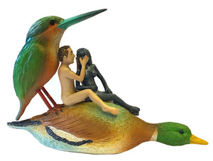 Couple on a Duck Seduction Sin Statue by Hieronymus Bosch AS IS no returns attic