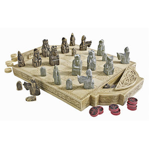 Isle of Lewis Medieval Chess Set and Storage Board 17.5W