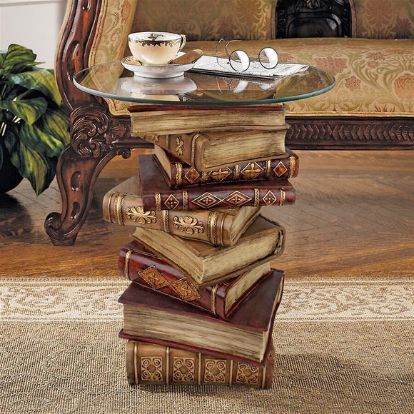 Power Of Books Side Table Books Stacked with Glass Top Library Librarian Gift 21H