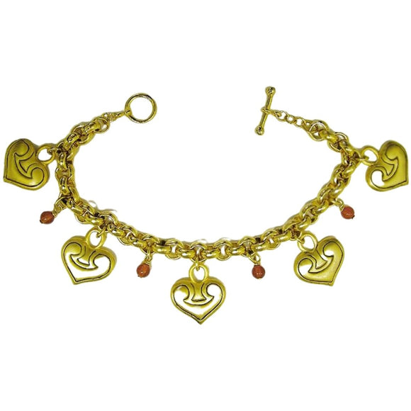 Greek Heart Charm Bracelet with Carnelian Beads
