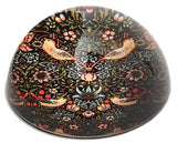 Morris Strawberry Thief Birds Flowers Red Black Glass Dome Desk Paperweight 3W