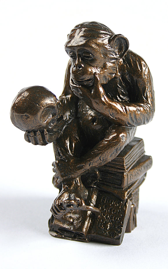 Pocket Art Rheinhold Monkey with Skull Philosophizing Miniature Statue 3.6H