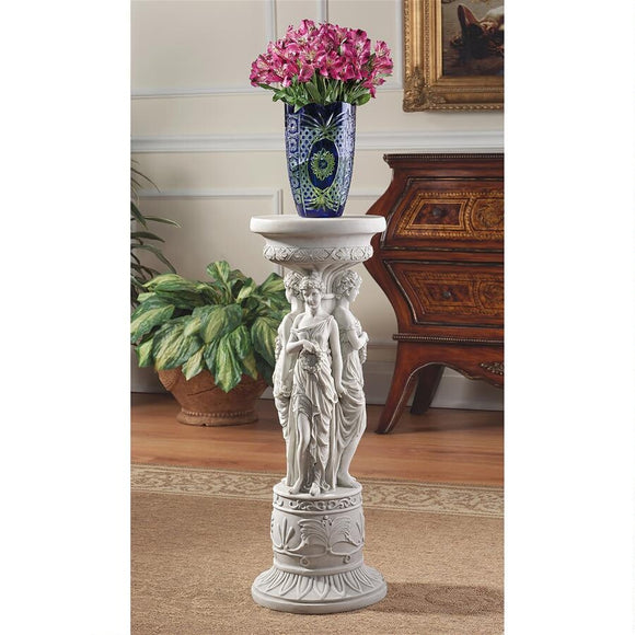 Neoclassical Ladies Trio Chatsworth Manor Sculptural Pedestal Display Base 28H