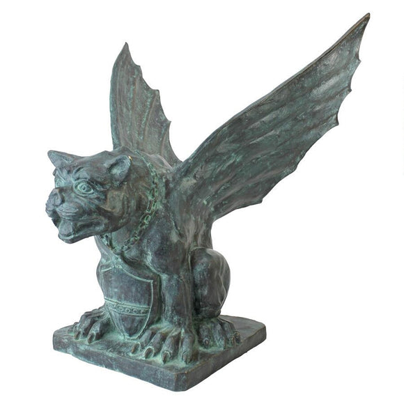 Winged Gargoyle of Naples Medieval Bronze Metal Garden Statue 22H