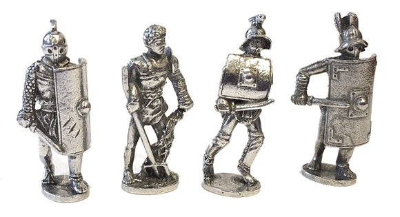 Museumize:Roman Gladiator Pack of 4 Miniature Play Figures Metal 1.5H - 8007