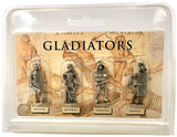 Roman Gladiator Pack of 4 Miniature Play Figures Metal 1.5H