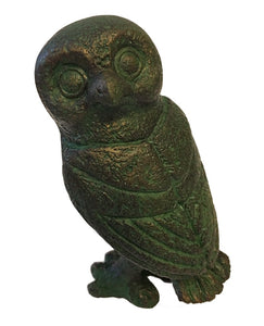 Ancient Greek Owl Head Turned Miniature Statue Figurine 3.5H