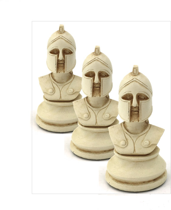 Greek Hoplite Military Playing Piece Miniature Bust Figurine 2H - Set of 3