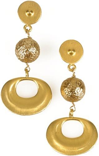 Precolumbian Gold Round Bead Sican Shimu Drop Dangle Earrings 2L