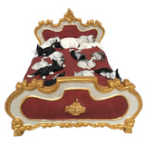 Dubout Cats with Many Kittens Sleeping on Gold and Red Fancy Bed Figurine Statue 8.5L