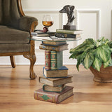 LIbrary Books Stack Volumes Sculpture Side Table with Glass 20.5H