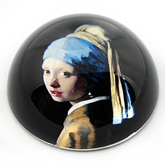 Girl with Pearl Earring Glass Desktop Paperweight by Vermeer 3W