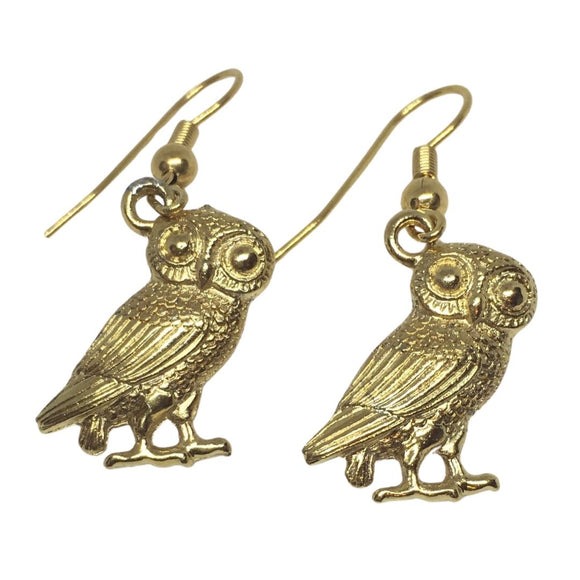 Owl Athena Minerva Roman Costume Drop Dangle Earrings Gold Finish .5L