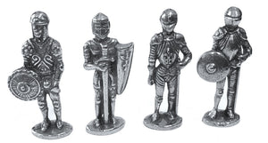 Knights in Armor Medieval Miniature Figurines Role Playing Pack of 4 1.5H