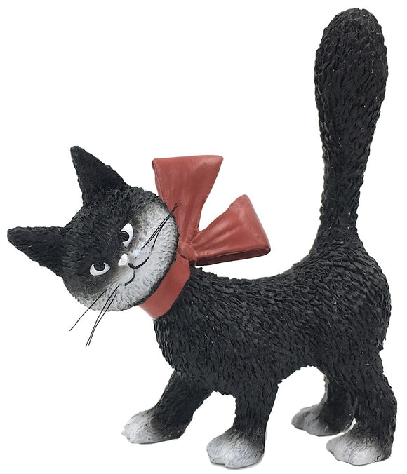 Cat La Minette Black with Red Bow and Tail Up Figurine by Dubout
