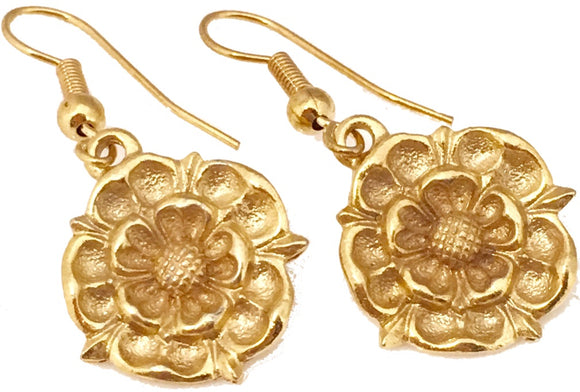 Tudor Rose English Royalty Monarchy Renaissance Costume Drop Earrings 1 3/8L
