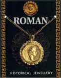 Caesar Roman Emperor Portrait Historical Costume Coin Gold Plate Necklace 20L