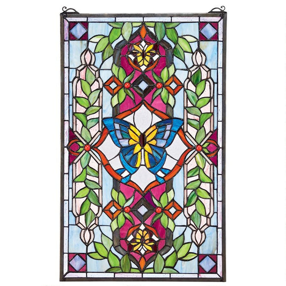 Butterfly and Flowers in Wreath Green Magenta Blue Stained Glass Window 25.5H