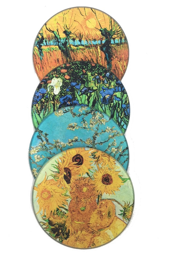 Van Gogh Paintings Bar Drink Coffee Table Glass Coasters Set of 4 with Storage Stand