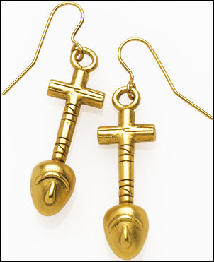 Egyptian Nefer Shape Hieroglyph Drop Dangle Earrings 1.25L