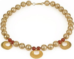 Pre-Columbian Golden Necklace with Carnelian Beads