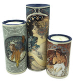 Mucha Portraits of Women Ceramic Tealight Candleholder Set of Three 5.9H