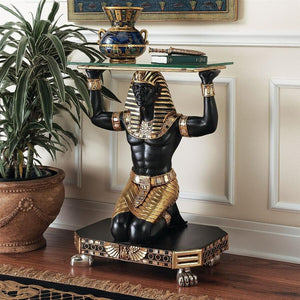 Egyptian Kneeling to Serve Console Table Black Gold 22 x 30H