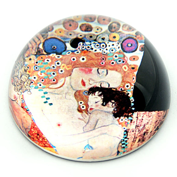 Mother and Child Glass Family Desktop Paperweight by Klimt 3W