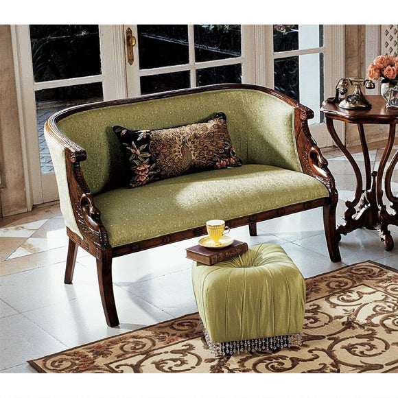 Due Cigno Settee Double Chair Wood with Celadon Jacquard Upholstery 51.5W