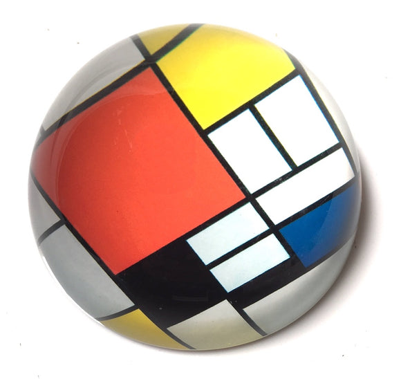 Mondrian Red Blue Yellow Modern Art Glass Dome Desktop Paperweight 3W