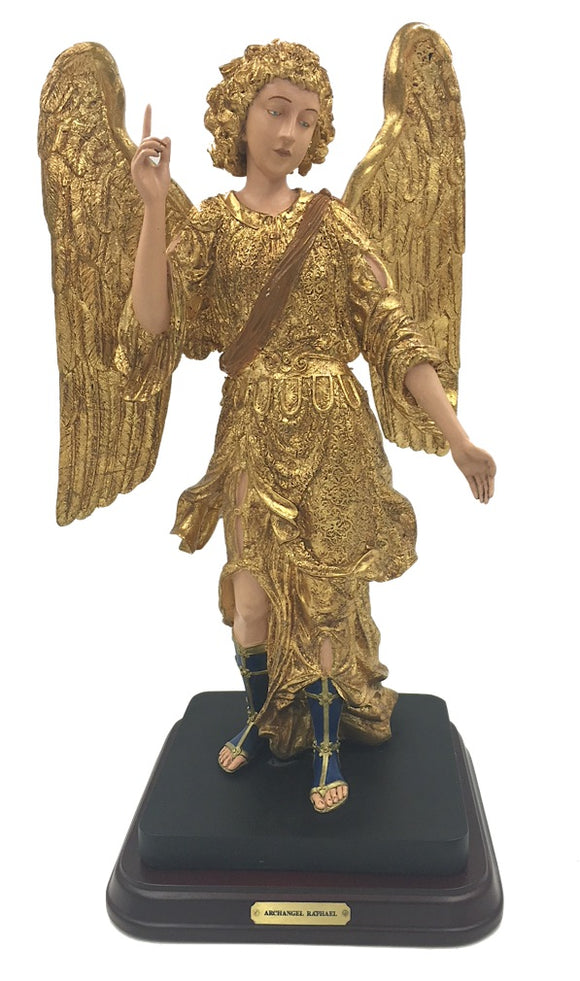 Archangel Raphael Angel of Healing with Comforting Expression Statue Large Gold Leaf 14H