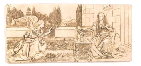 Museumize:Archangel Gabriel and the Annunciation Relief by Da Vinci 15.5W, Assorted Colors,Stone Finish