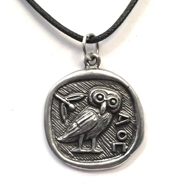 Museumize:Athena Minerva Owl Coin Shaped Pendent Necklace Unisex 1L
