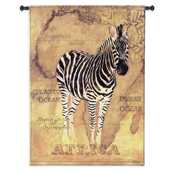 Zebra Silhouette on Africa Continent African Decor Brown Black Woven Wall Tapestry 53x38