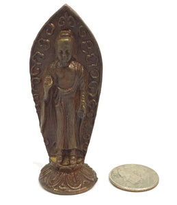 Museumize:Buddha Tiny Miniature Standing Protection Pose Bronze Statue 2.5H