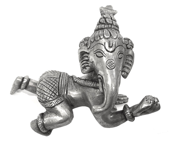 Museumize:Crawling Baby Elephant Ganesh Small Statue, pewter over bronze 3.5L