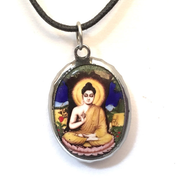 Museumize:Buddha in Meditation Vippasana Ceramic Unisex Pendant Necklace